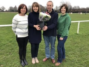 Taking care of Charter Standard business: (left to right) new charter standard officer, Lucy Abbott, retiring officer Claire Papps, club chairman, Ted Bowen and welfare officer, Angharad Briscoe.